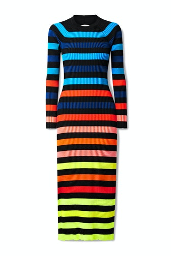 Open-Back Striped Ribbed-Knit Midi Dress