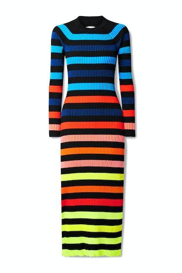 Open-Back Striped Ribbed-Knit Midi Dress