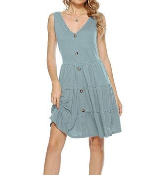 Halife Button Down V-Neck Dress