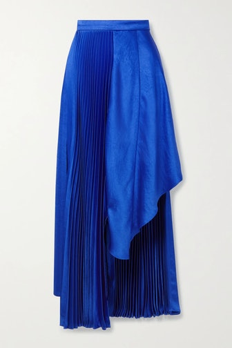 Asymmetric Pleated Satin Skirt