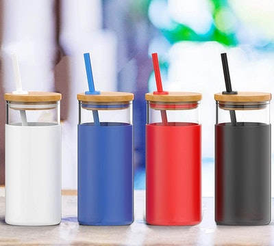 Tronco Glass Tumbler with Silicone Straw and Bamboo Lid