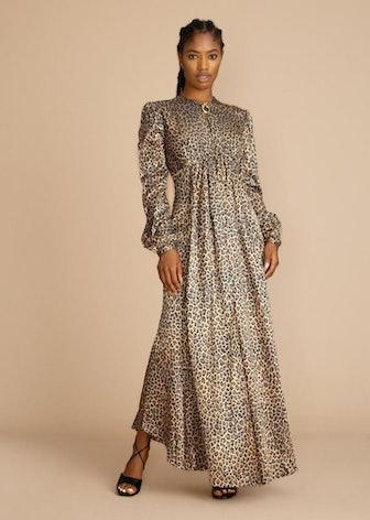 Leo Print Keyhole Midi Dress