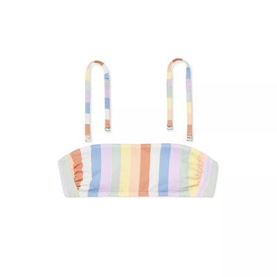 Juniors' Ribbed Bandeau Bikini Top