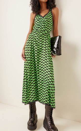 Romy Lace-Trimmed Checked Midi Dress