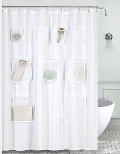 Mrs Awesome Water-Repellent Shower Curtain with Mesh Pockets
