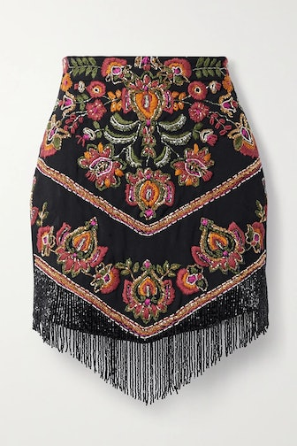 Black Fringed Bead-Embellished Embroidered woven Mini Skirt
