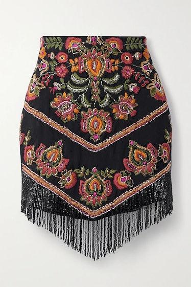 Black Fringed Bead-Embellished Embroidered woven Mini Skirt