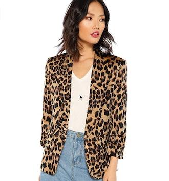 Floerns Long Sleeve Open Front Leopard Print Blazer
