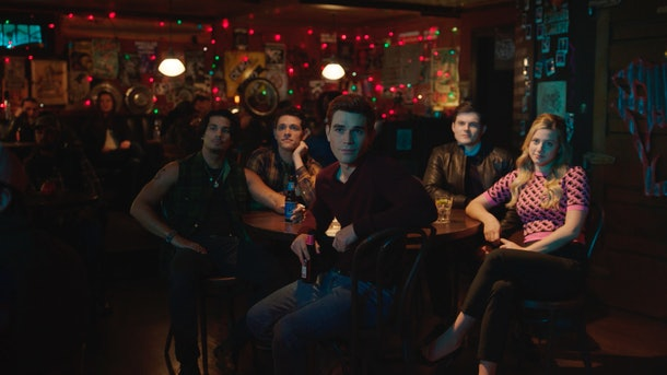 Drew Ray Tanner as Fangs Fogarty, Casey Cott as Kevin Keller, Chris Mason as Chad Gekko, Lili Reinhart as Betty Cooper and KJ Apa as Archie Andrews in The CW's 'Riverdale'