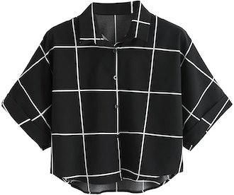 MakeMeChic Half Sleeve Blouse Crop Top