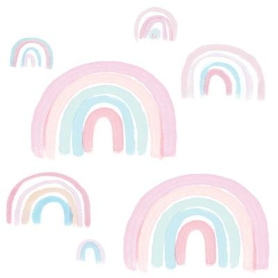 Watercolor Pastel Rainbow Nursery/Kids Wall Decals - Pink/Mint