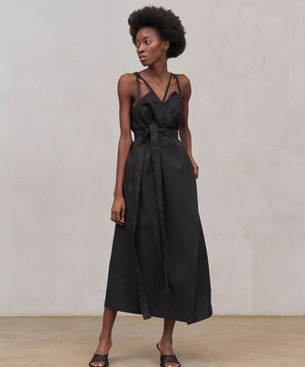Iconic Wrap Combination Dress in Black