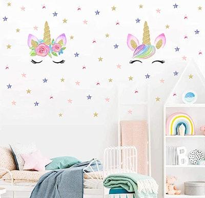 Unicorn Wall Decal With Stars