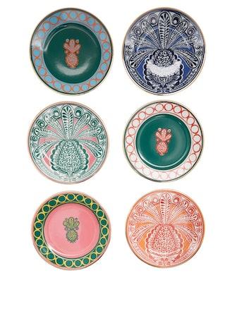Set of Six 18kt-Gilded Porcelain Dessert Plates