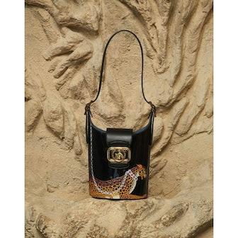 Leopard Print Patent Leather Swan Bucket Bag