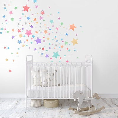Kids Wall Decal Peel and Stick Watercolor Star