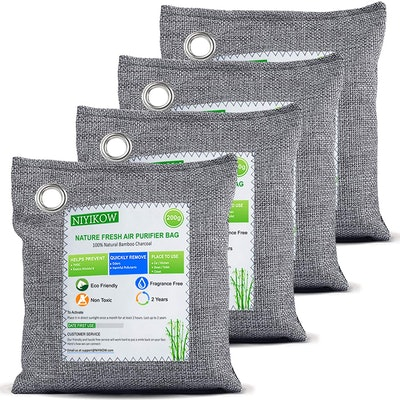 NIYIKOW Nature Fresh Bamboo Charcoal Air Purifying Bags (4-Pack)