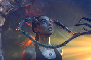 skylines movie still of woman and alien