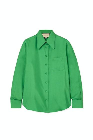 Green Silk-Twill Shirt