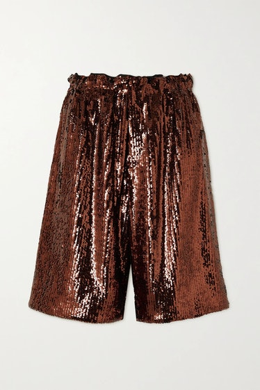 Brown Sequined Crepe Shorts