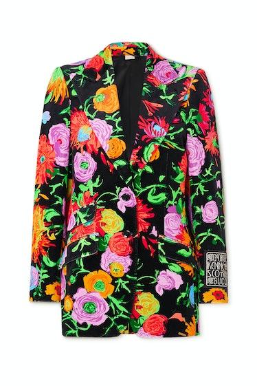 Ken Scott Jenni Appliquéd Floral-Print Velvet Blazer