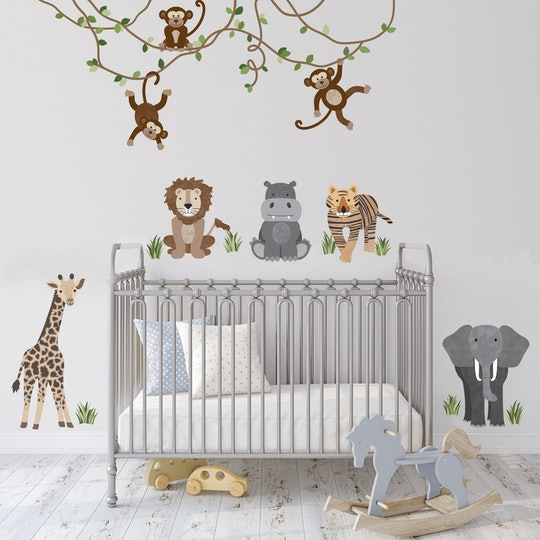 Use wall decals like these jungle-themed vinyl stickers for kids' rooms and nurseries.