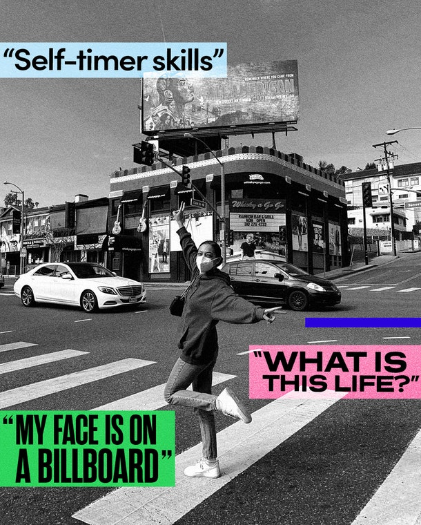 Samantha Logan in front of an 'All-American' billboard in California