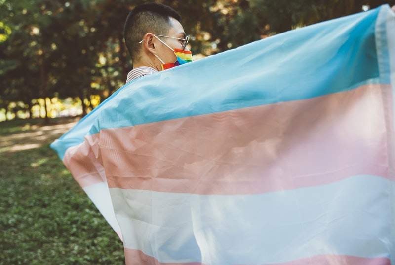 Person holding trans rights flag