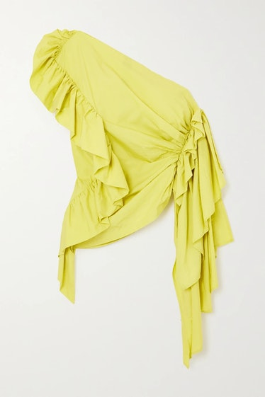 Lime Green One-Shoulder Ruffled Cotton-Blend Sateen Top