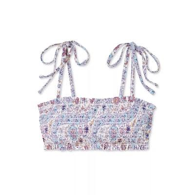 Juniors' Smocked Bandeau Bikini Top