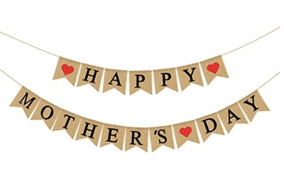 Burlap Happy Mothers Day Banner