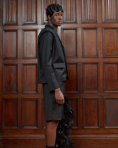 Model from Bianca Saunders' Spring 2021 menswear collection.