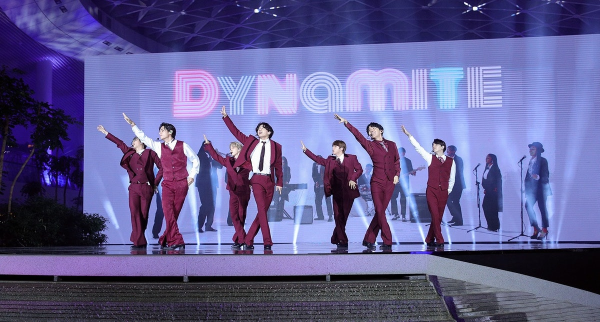 BTS performing at the 2020 Billboard Music Awards.