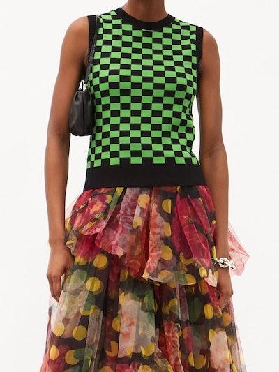 Molly Goddard Selwyn Check Cotton-Jacquard Sleeveless Sweater