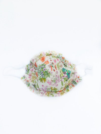 Face Mask With Ruffle - Pastel Floral