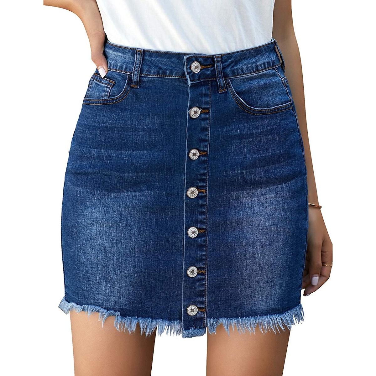 luvamia Button-Down Frayed Denim Skirt