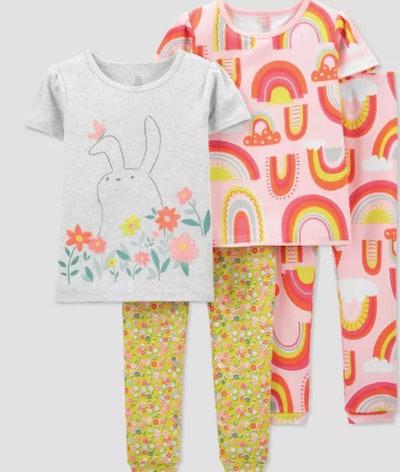 Toddler Girls' 4pc Bunny/Rainbow Pajama Set