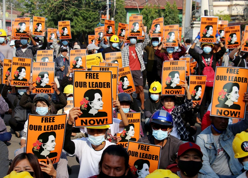 A demonstration in Myanmar over the detainment of Aung San Suu Kyi