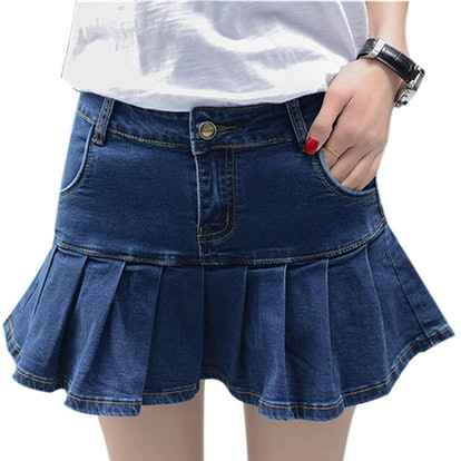 Yeokou Pleated Denim Mini Skirt