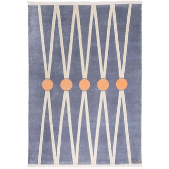 Neutral Wool Rug, with pale Orange Circles by Cecilia Setterdahl for Carpets CC
