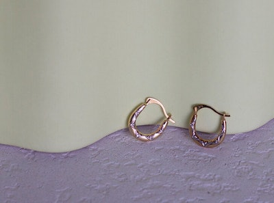 9ct Gold Mini White Detail Oval Hoop