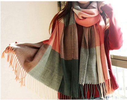 YSense Long Plaid Fringe Blanket Scarf