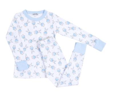 Magnolia Baby Blue Vintage Polka Dot Bunny Long Pajamas
