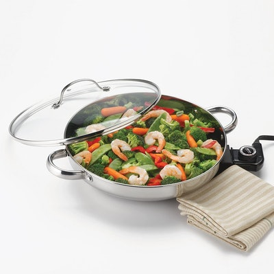 Aroma Housewares Gourmet Series Stainless Steel Electric Skillet