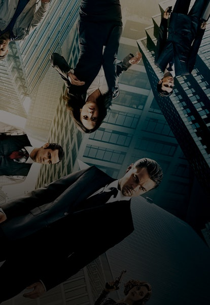 inception characters on twisted buildings poster illustration