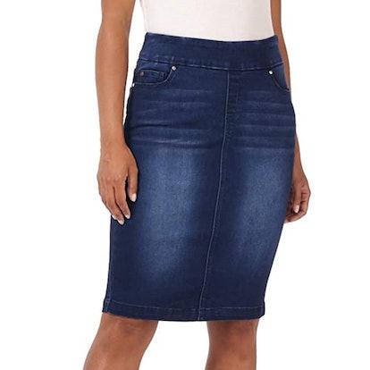 Rekucci Jeans Pull-On Stretch Denim Skirt