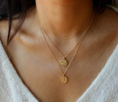 Zodiac Sign Coin Necklace, Aries, 14-inch