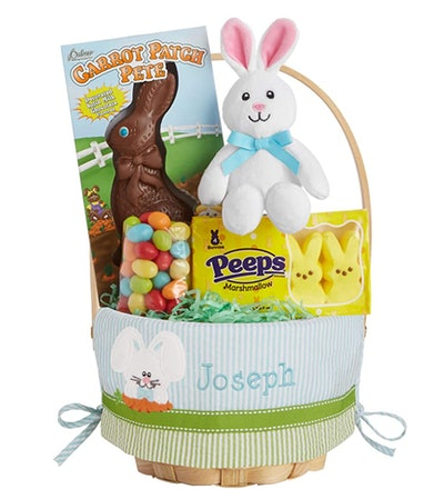 Personalized Create Your Own Easter Basket - Blue Bunny Design