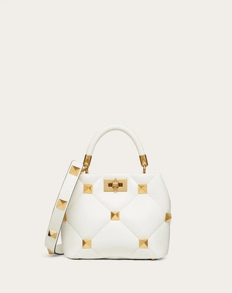 Small Roman Stud Handle Bag in Nappa With Chain