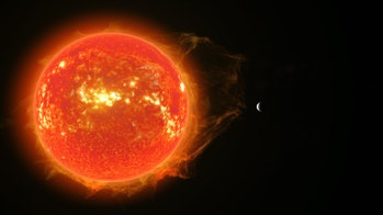 An illustration of the exoplanet Gliese 486b orbiting around its host star.